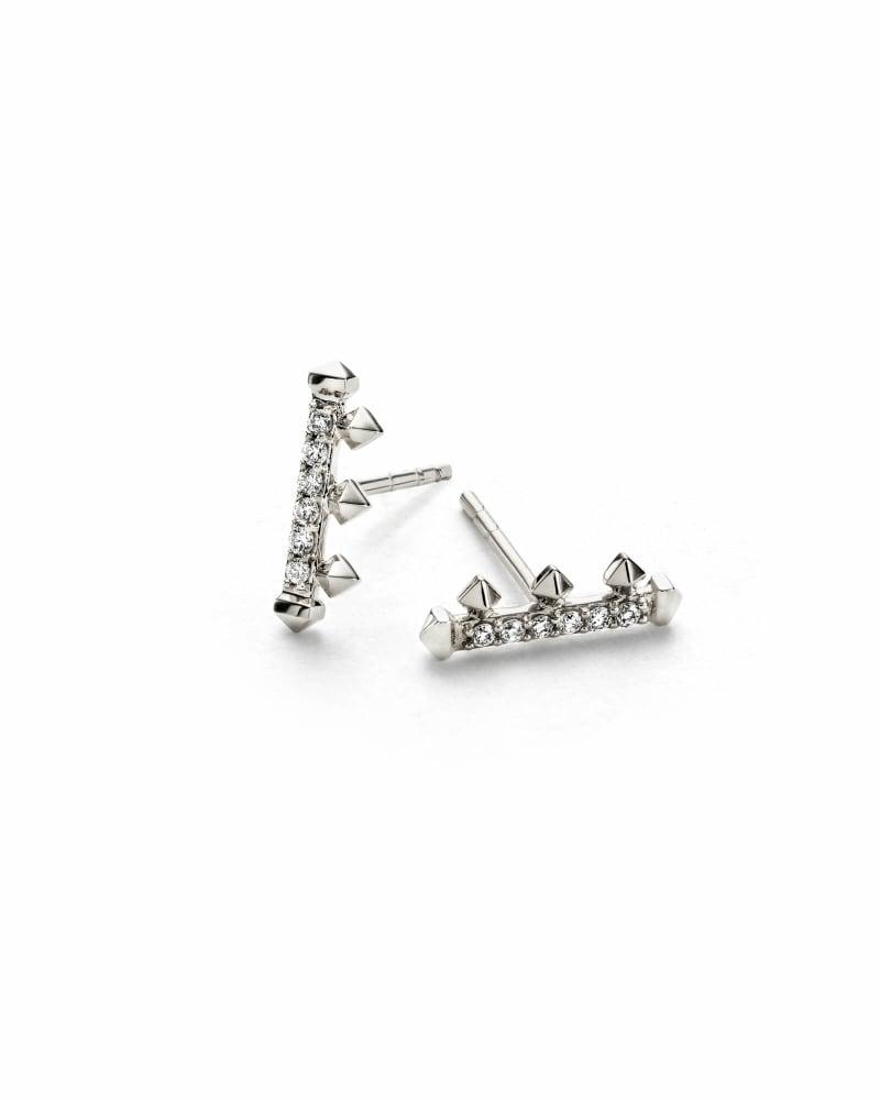 Dorothy Stud Earrings in White Diamond and 14k White Gold