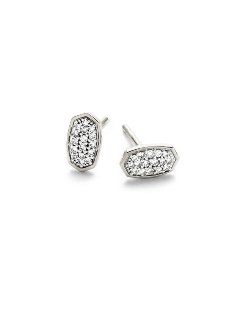 Marisa Stud Earrings in White Diamond and 14k White Gold