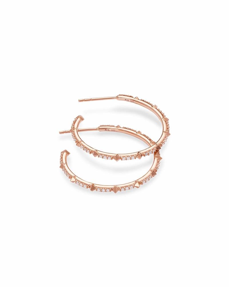 Cybil 14k Rose Gold Earrings in White Diamond