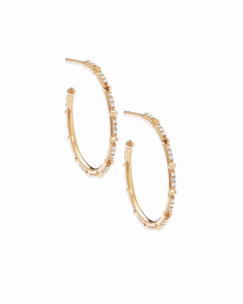 Cybil 14k Yellow Gold Earrings in White Diamond