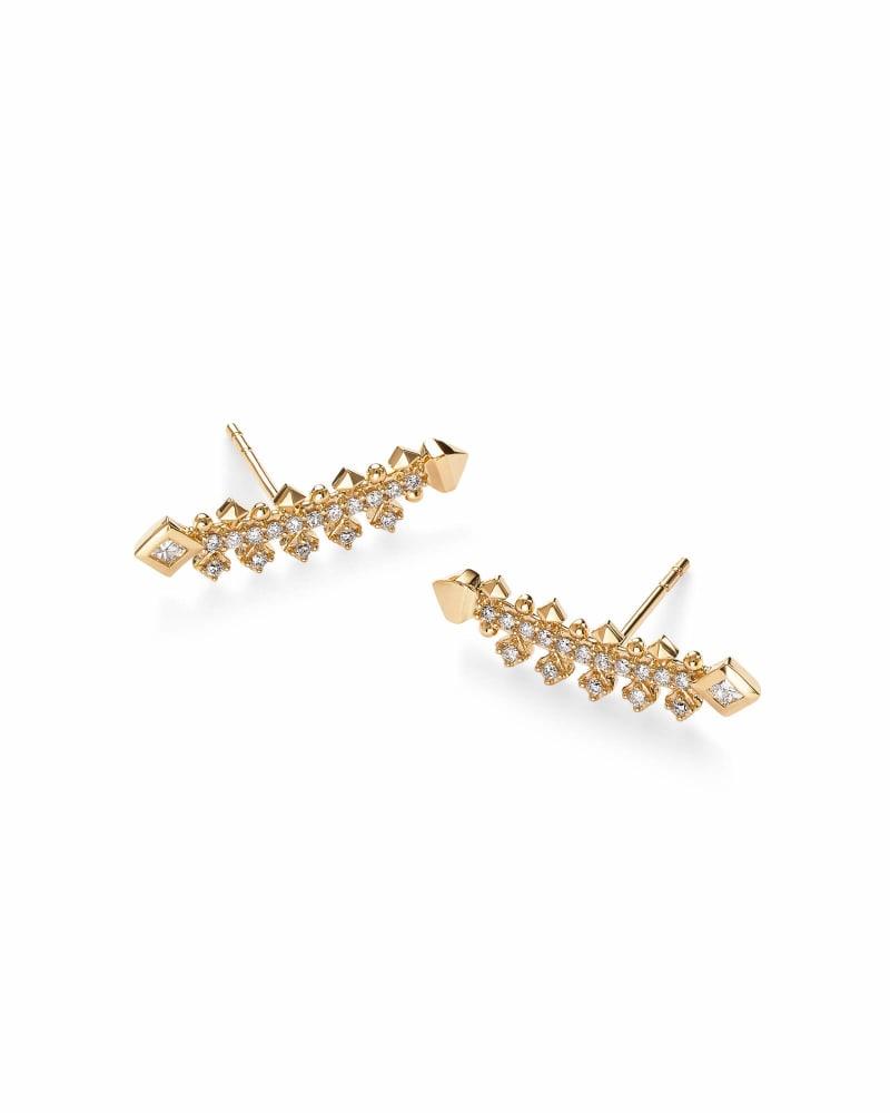 Indie 14k Yellow Gold Earrings in White Diamond