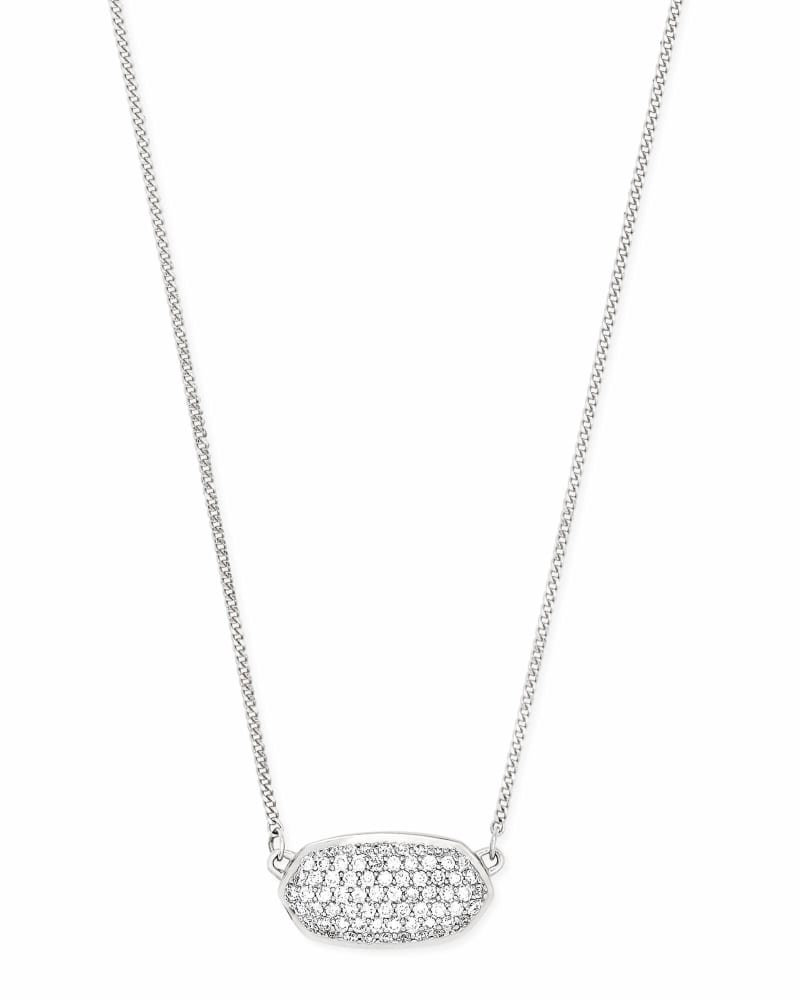 Elisa Pendant Necklace in Pave Diamond and 14k White Gold