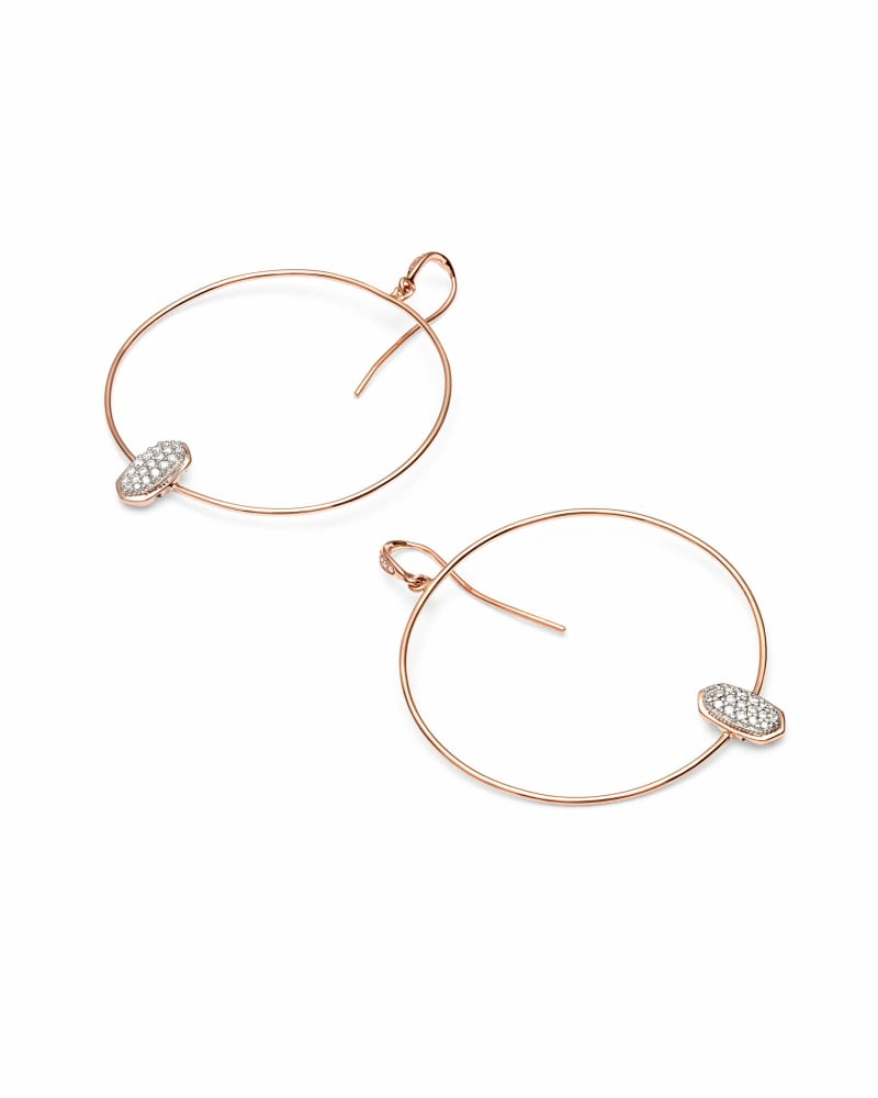 Elora Hoop Earrings in White Diamond