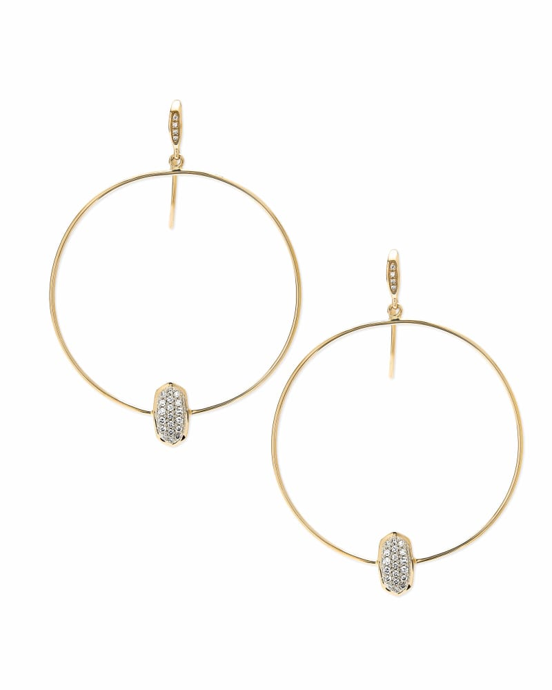 Elora 14k Yellow Gold Hoop Earrings in White Diamond