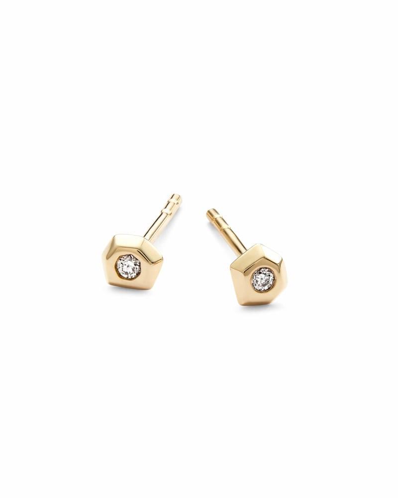 Janiya 14k Yellow Gold Stud Earrings in White Diamond