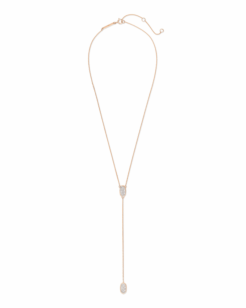 Jubiee 14k Rose Gold Y Necklace in White Diamond