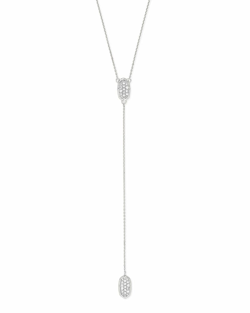 Jubiee 14k White Gold Y Necklace in White Diamond