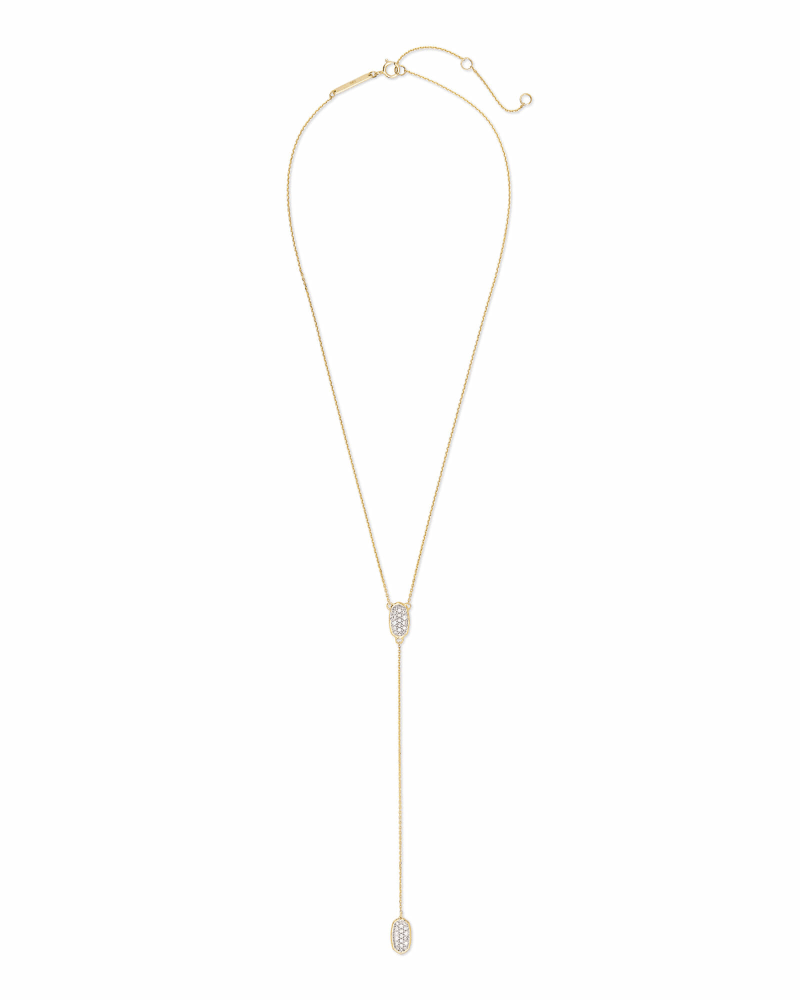 Jubiee 14k Yellow Gold Y Necklace in White Diamond