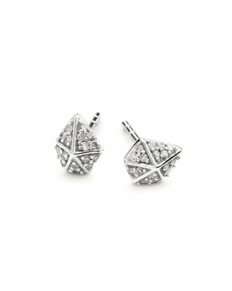 Manet 14k White Gold Stud Earrings in White Diamond