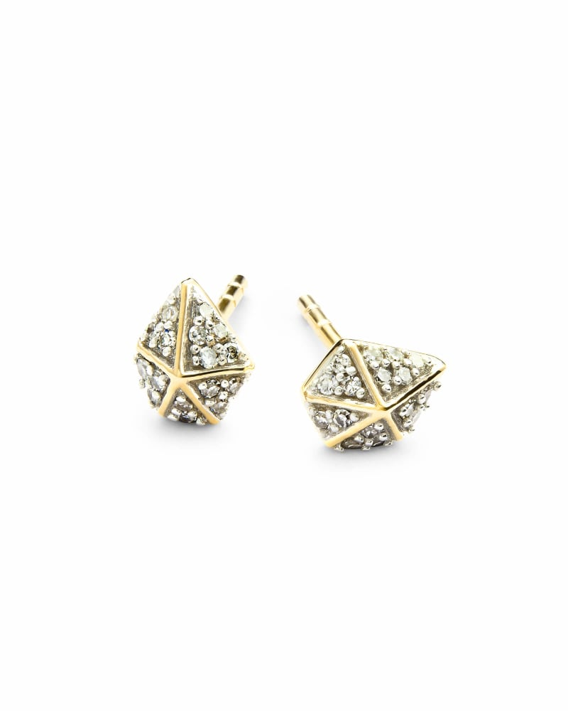 Manet 14k Yellow Gold Stud Earrings in White Diamond