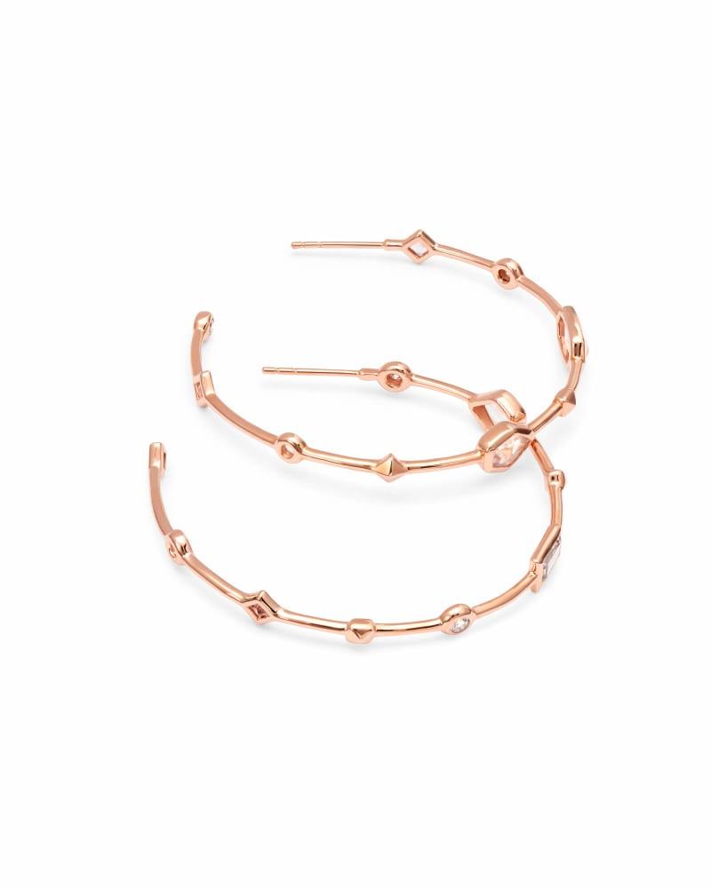Mei 14k Rose Gold Hoop Earrings in Neutral Gemstone Mix