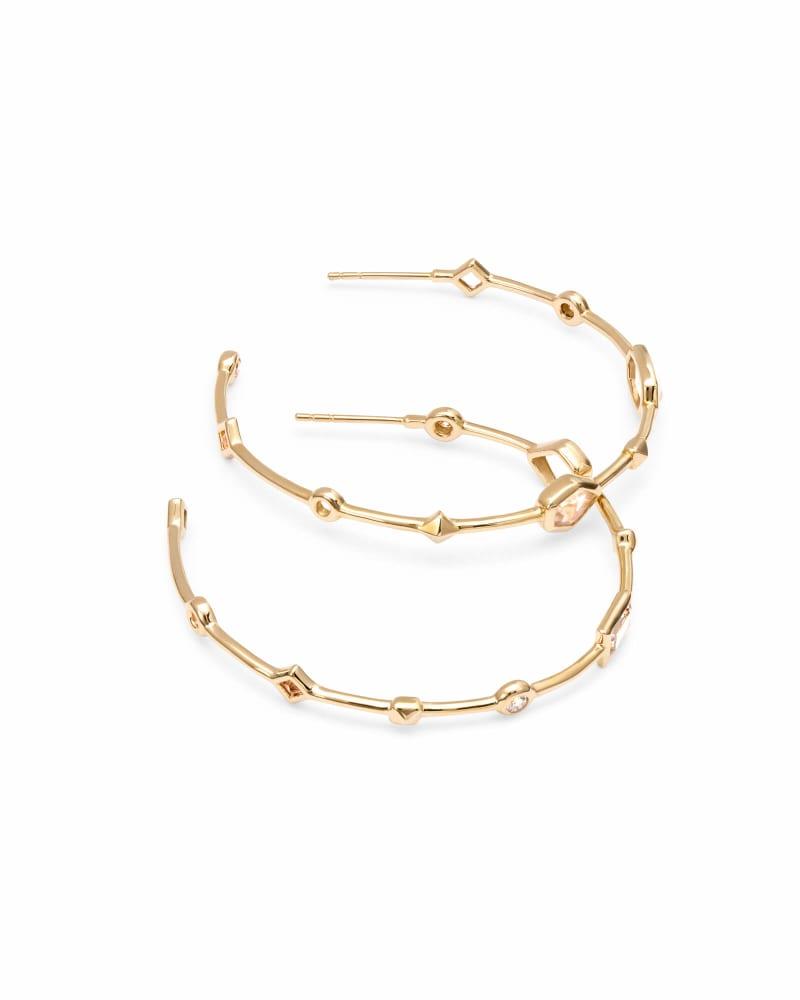 Mei 14k Yellow Gold Hoop Earrings in Neutral Gemstone Mix