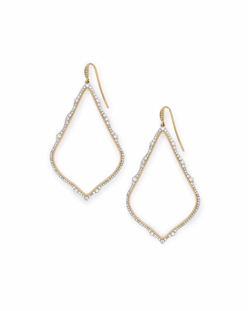 Sophee 14k Yellow Gold Drop Earrings in White Diamond