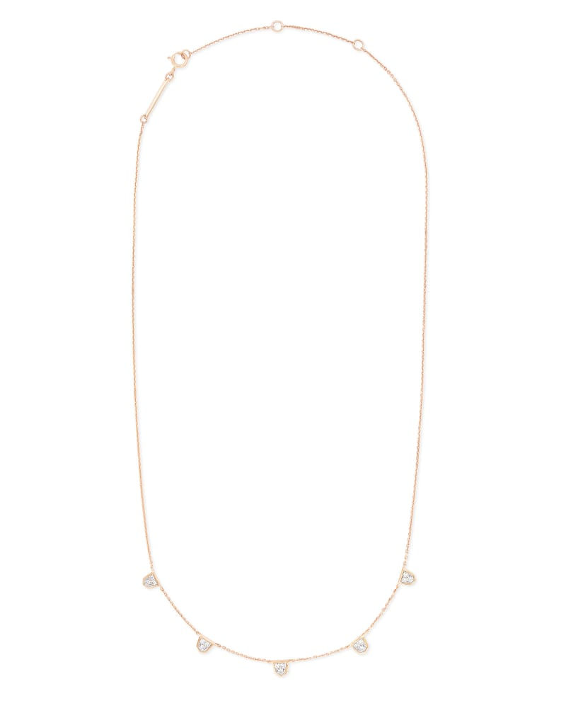 Shannon 14k Rose Gold Collar Necklace in White Diamond