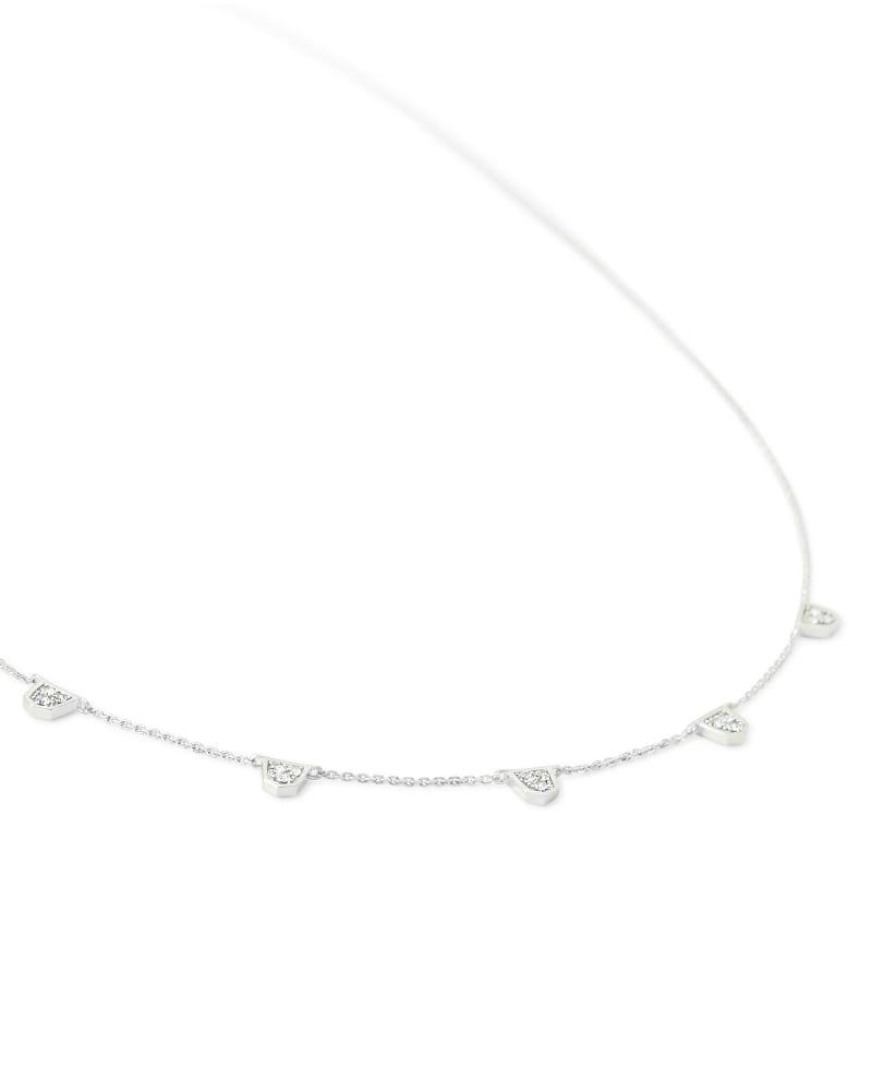 Shannon 14k White Gold Collar Necklace in White Diamond