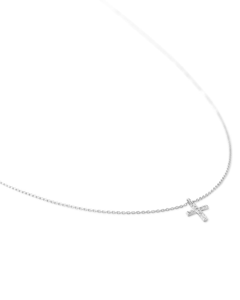 Cross 14k Pendant Necklace in White Diamonds