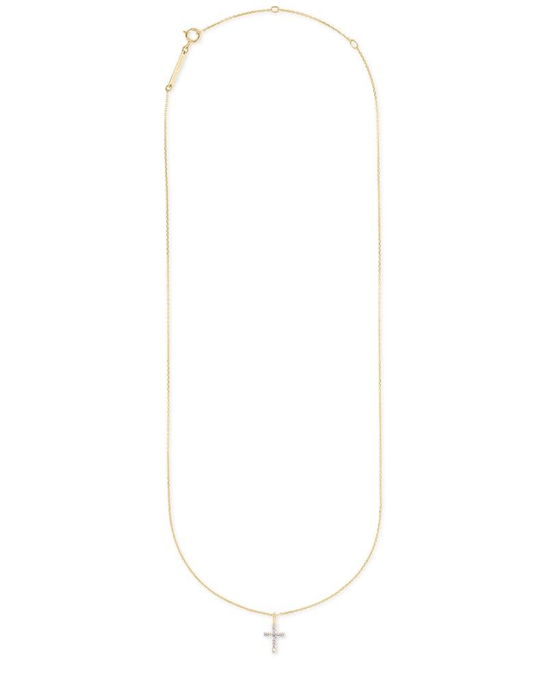 Cross 14k Yellow Gold Pendant Necklace in White Diamonds   Kendra Scott