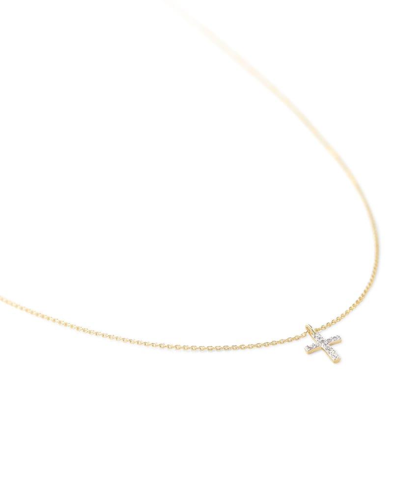 Cross 14k Yellow Gold Pendant Necklace in White Diamonds