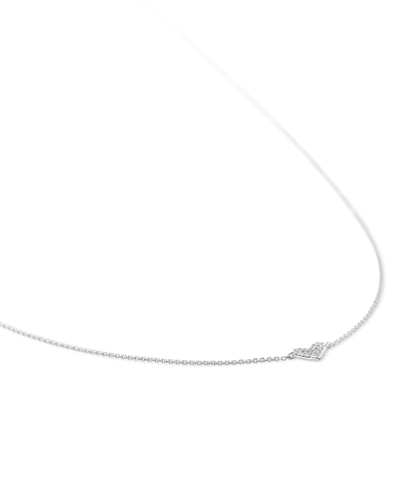 Heart 14k White Gold Pendant Necklace in White Diamonds