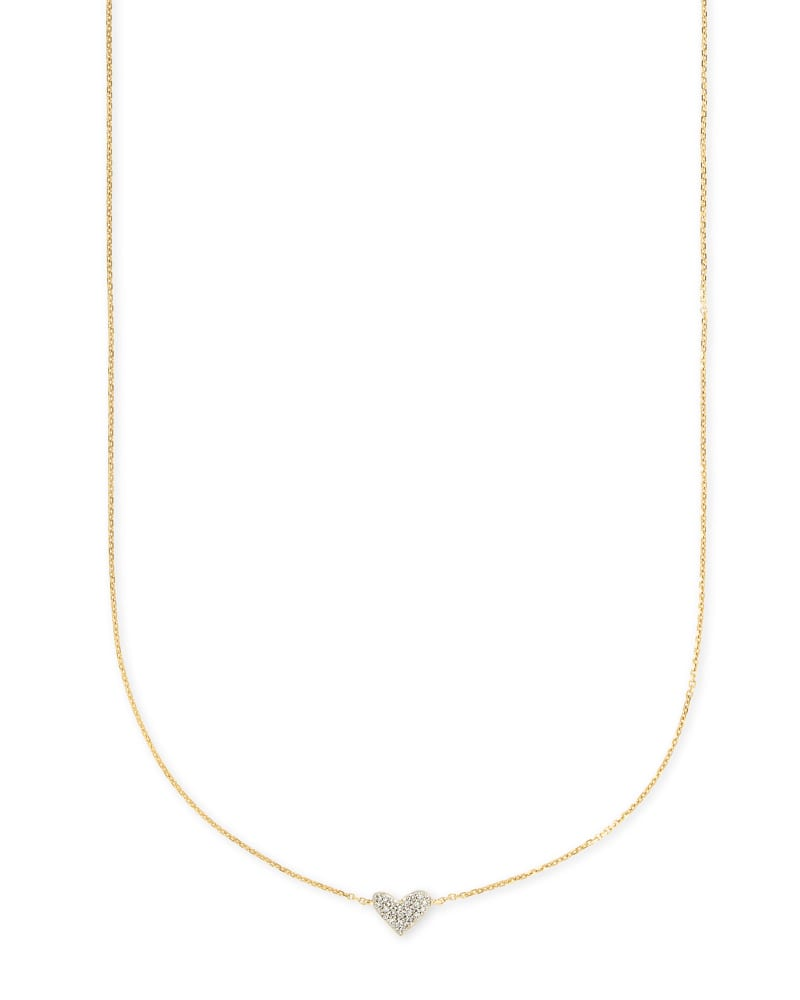 Heart 14k Yellow Gold Pendant Necklace in White Diamonds