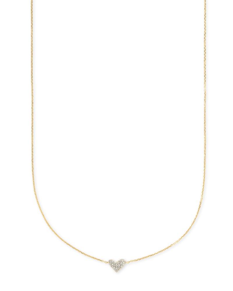 Heart 14k Yellow Gold Pendant Necklace in White Diamonds   Kendra Scott