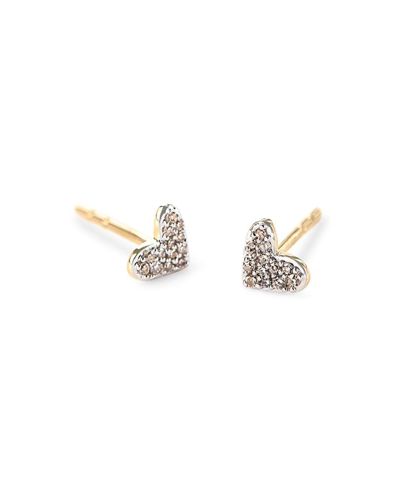 New 14k Yellow Gold Over Diamond Heart Heartbeat Nurse Doctor Stud Earring Women