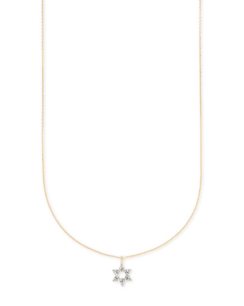 Star Of David 14k Pendant Necklace in White Diamonds