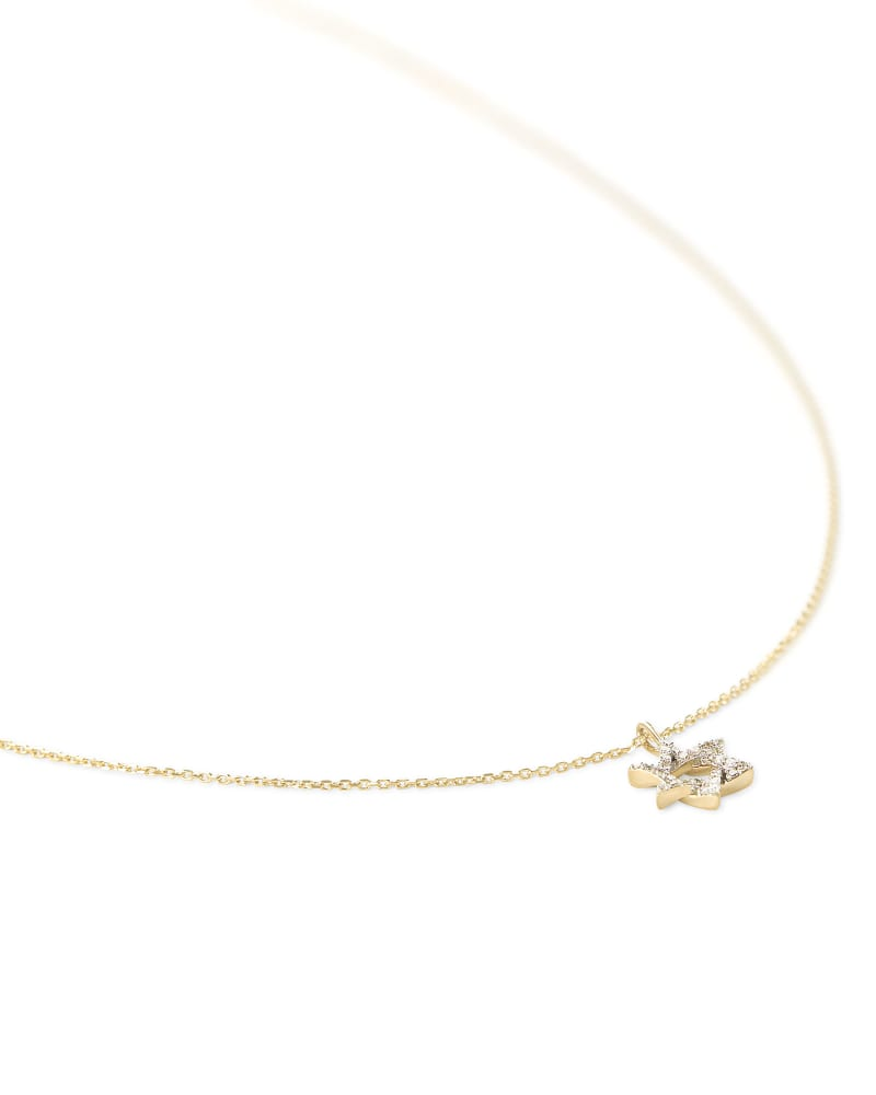 Star of David 14k Yellow Gold Pendant Necklace in White Diamonds