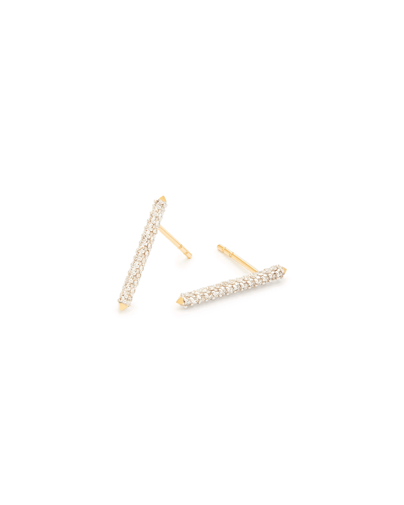 Raelynn 14k Yellow Gold Stud Earrings In White Diamonds