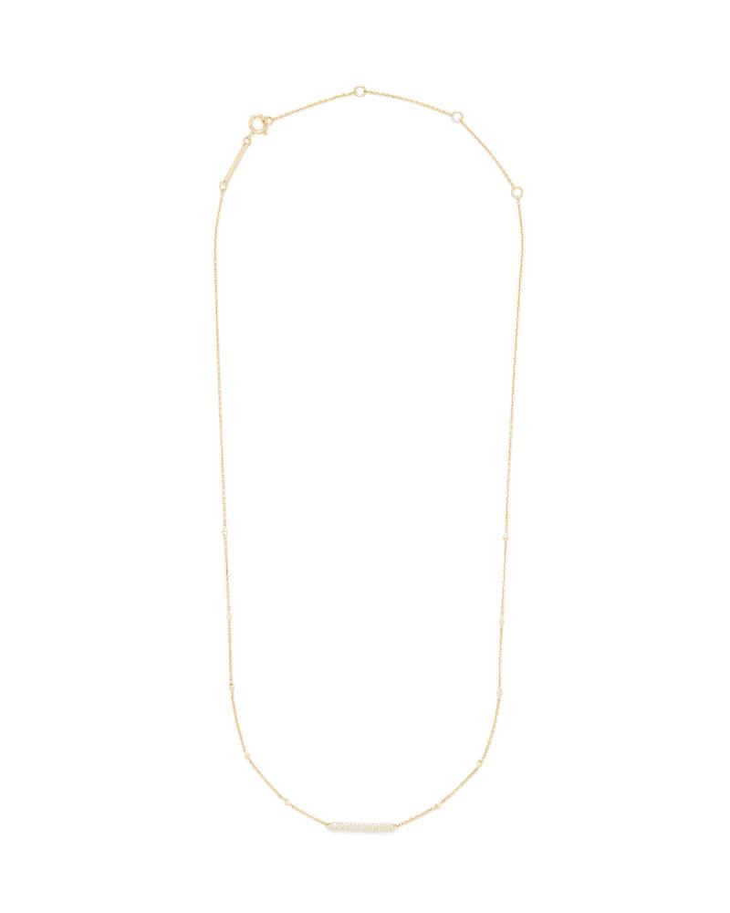 Remington 14k Yellow Gold Pendant Necklace In White Diamonds