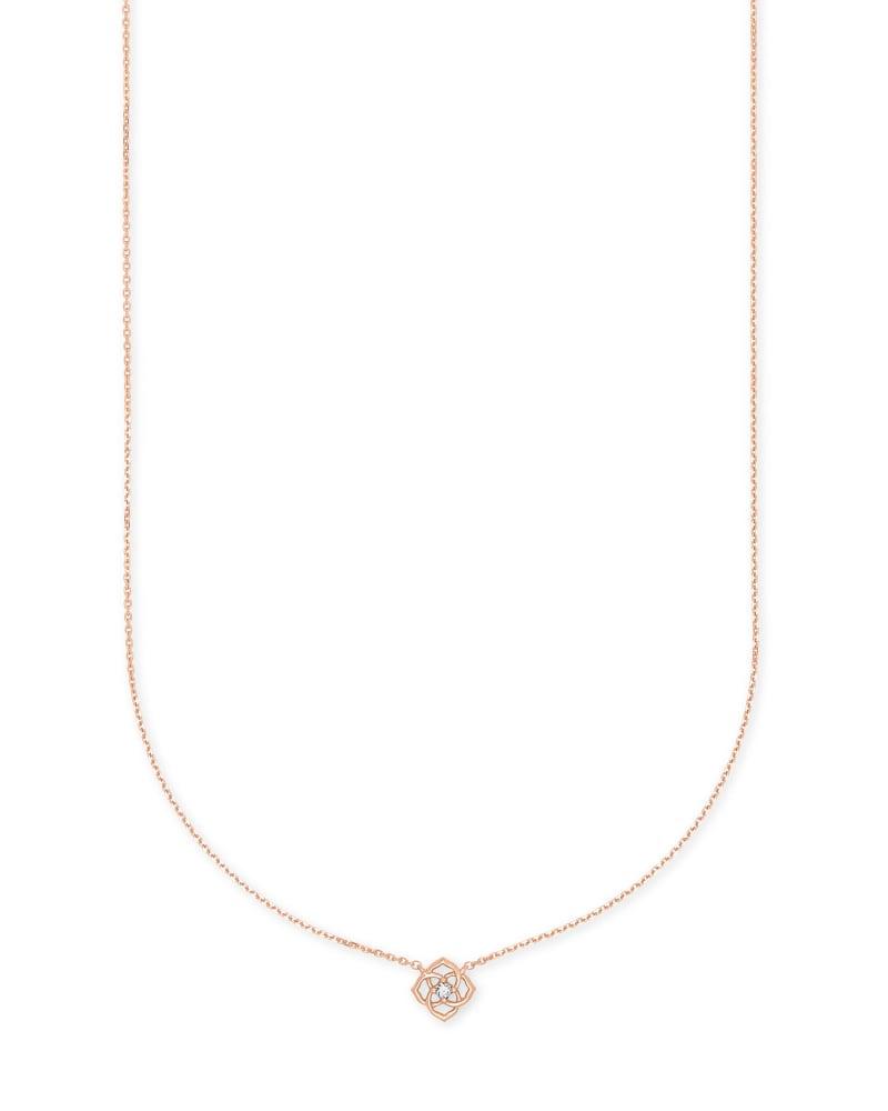 Fleur 14k Rose Gold Pendant Necklace in White Diamond