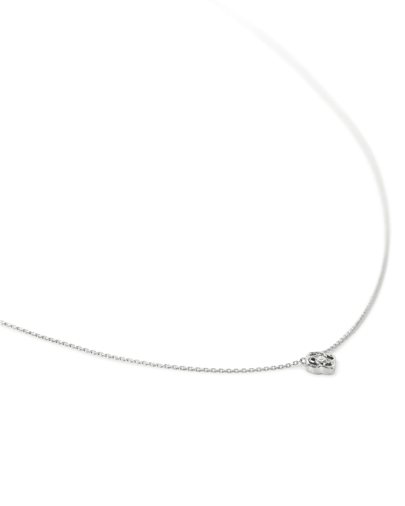 Fleur 14k White Gold Pendant Necklace in White Diamond