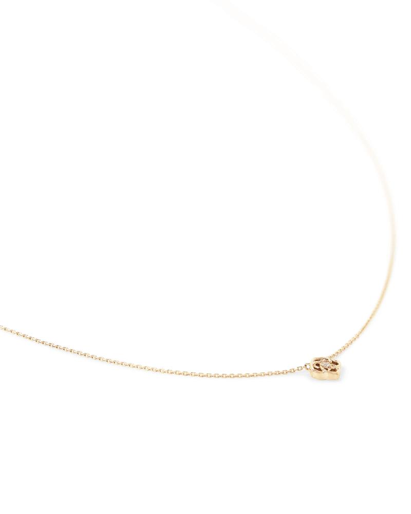 Fleur 14k Yellow Gold Pendant Necklace in White Diamond