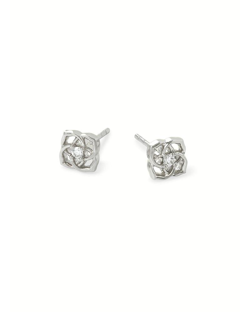 Fleur 14k White Gold Small Stud Earrings in White Diamond