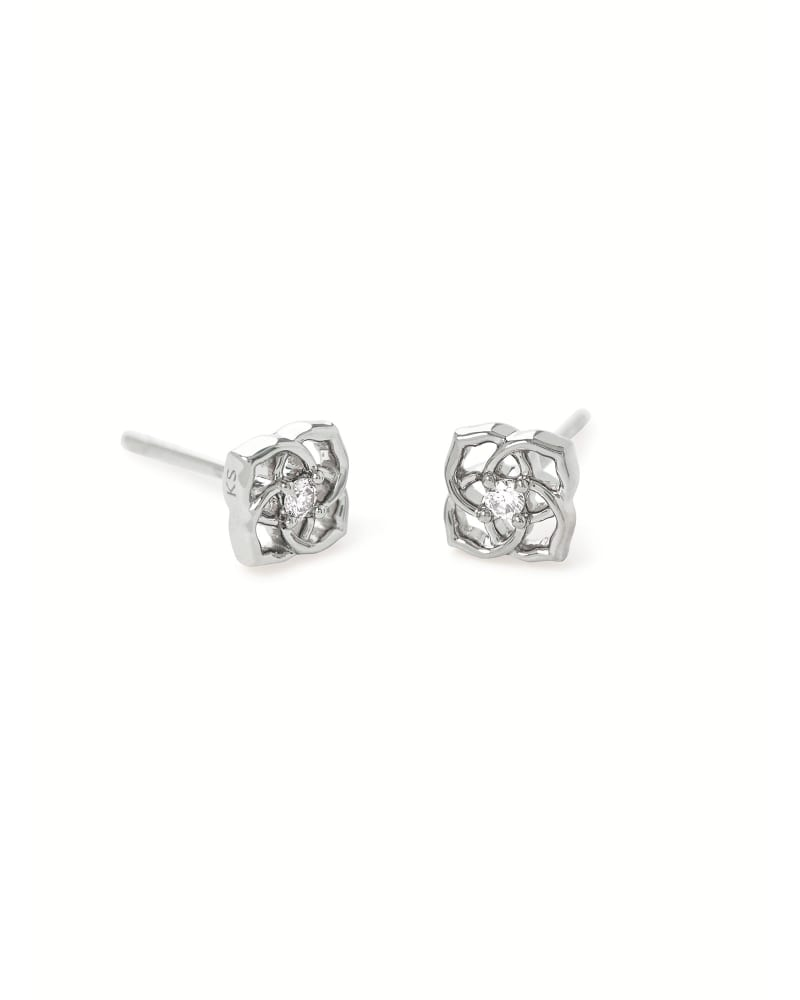 Fleur 14k White Gold Small Stud Earrings in White Diamond
