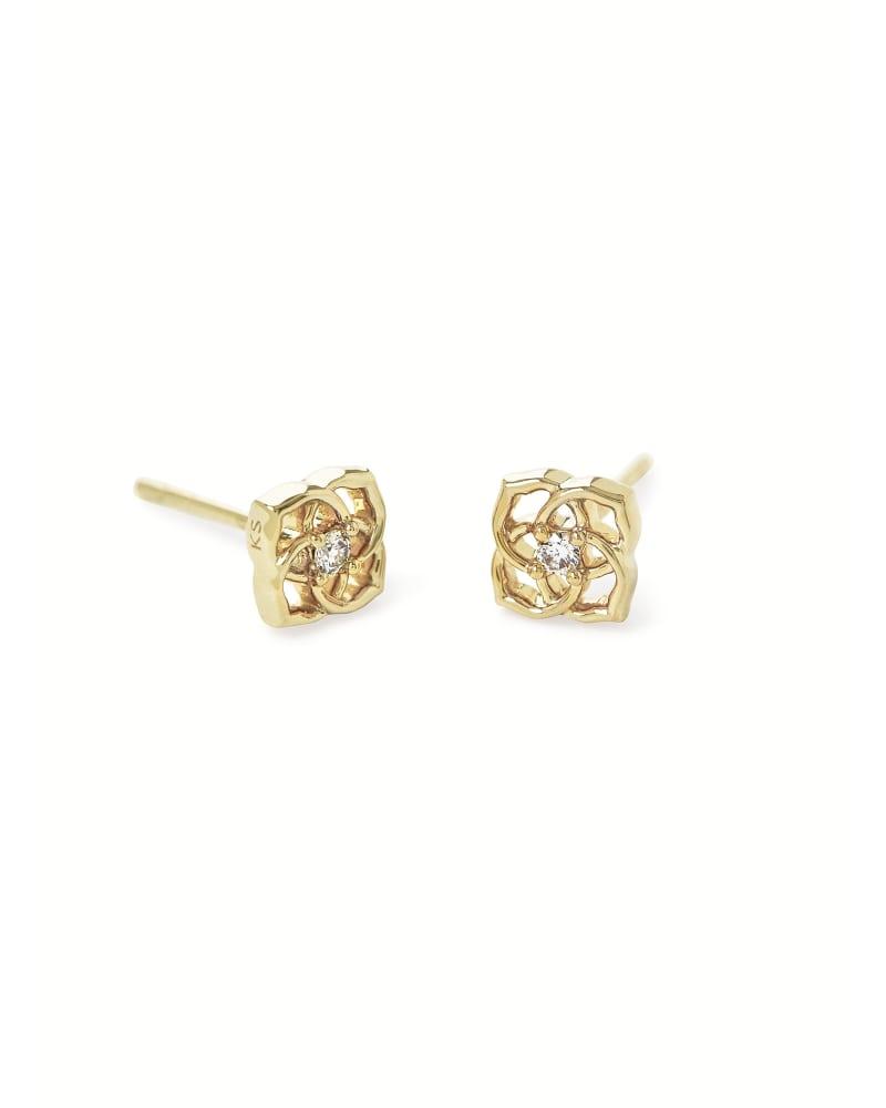 Fleur 14k Yellow Gold Small Stud Earrings in White Diamond