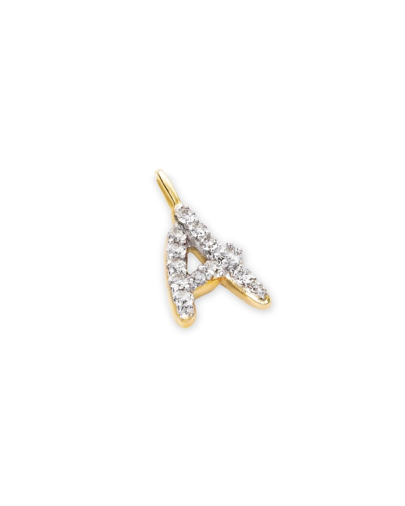 14k Yellow Gold Letter A Charm in White Diamond