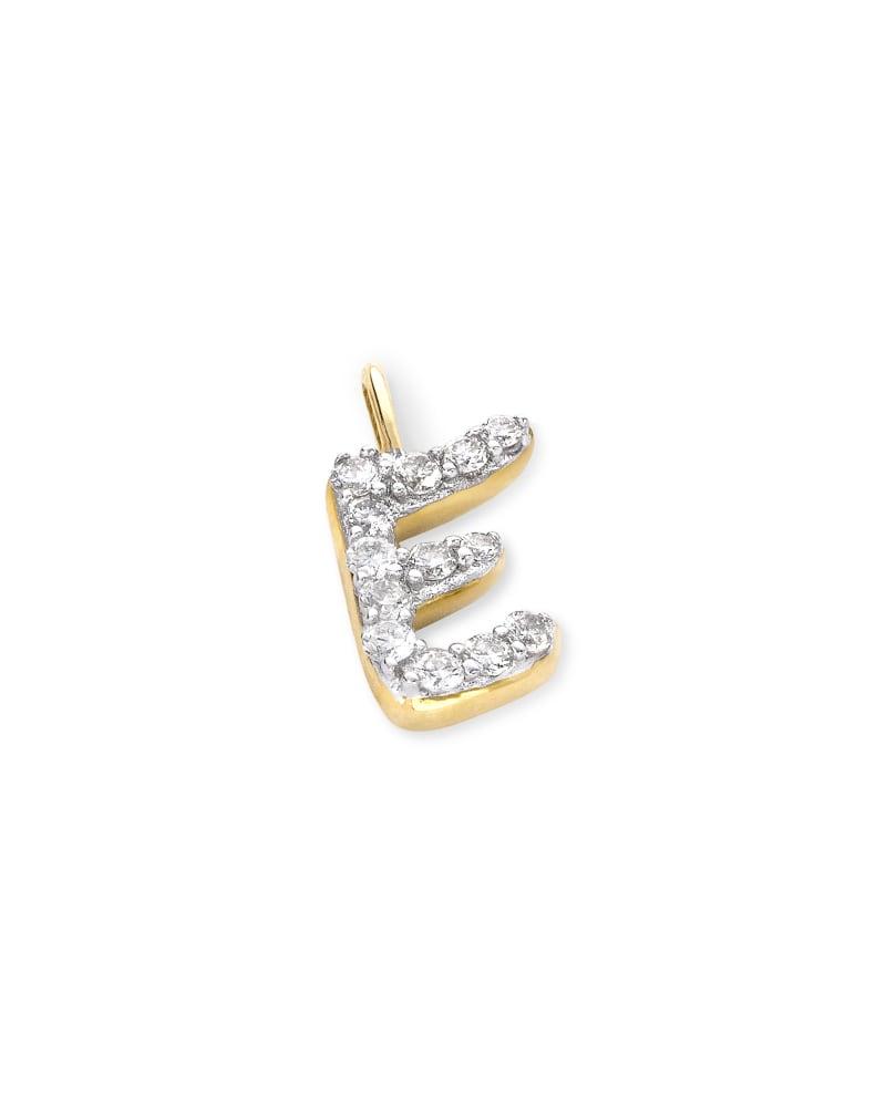 14k Yellow Gold Letter E Charm in White Diamond