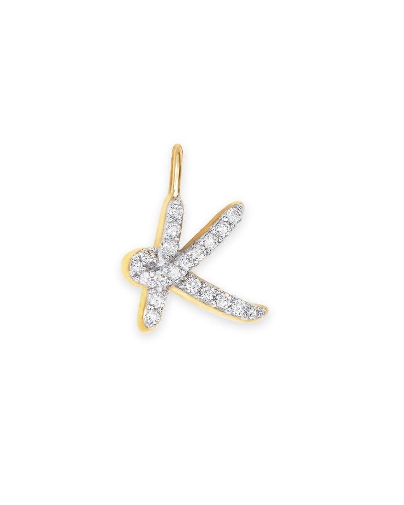14k Yellow Gold Letter K Charm in White Diamond