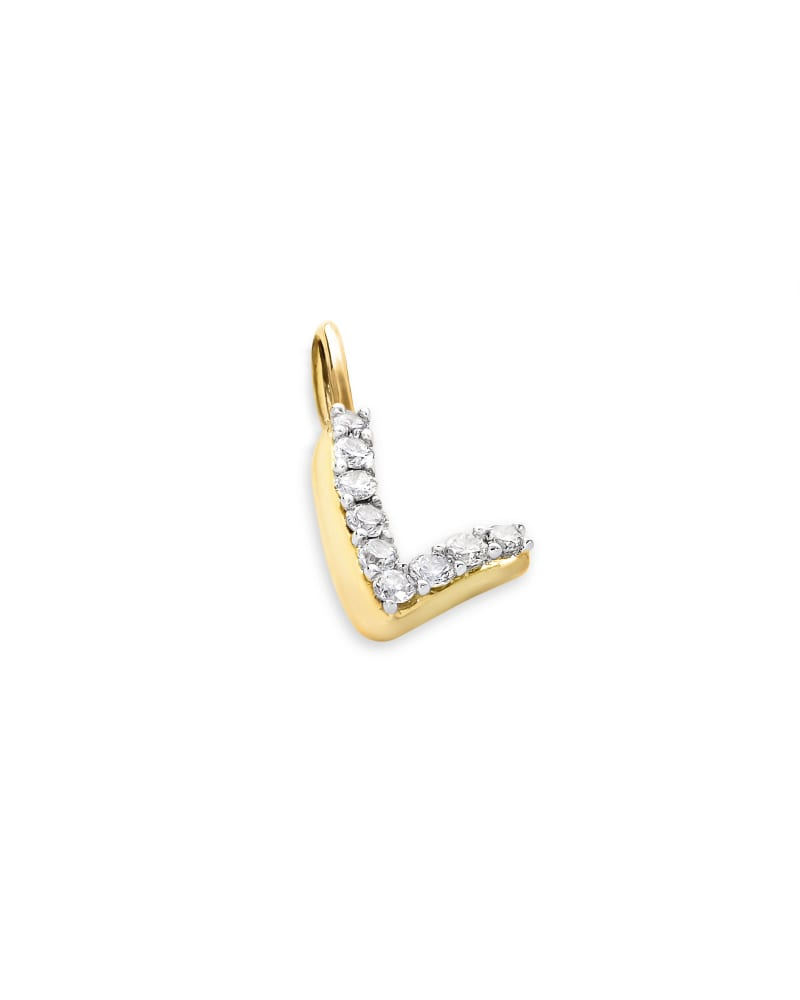 14k Yellow Gold Letter L Charm in White Diamond