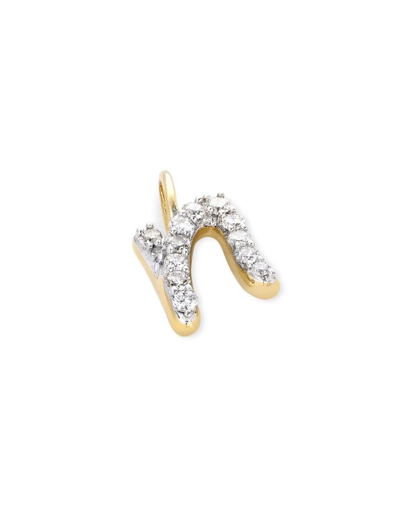 14k Yellow Gold Letter N Charm in White Diamond