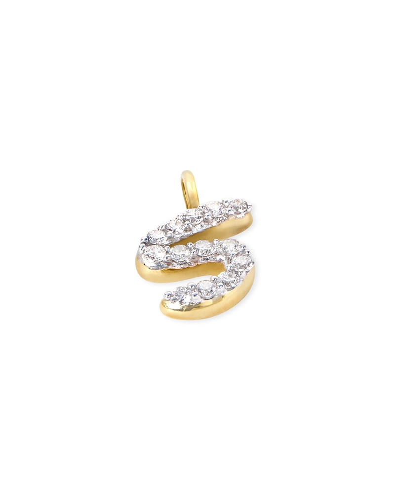 14k Yellow Gold Letter S Charm in White Diamond