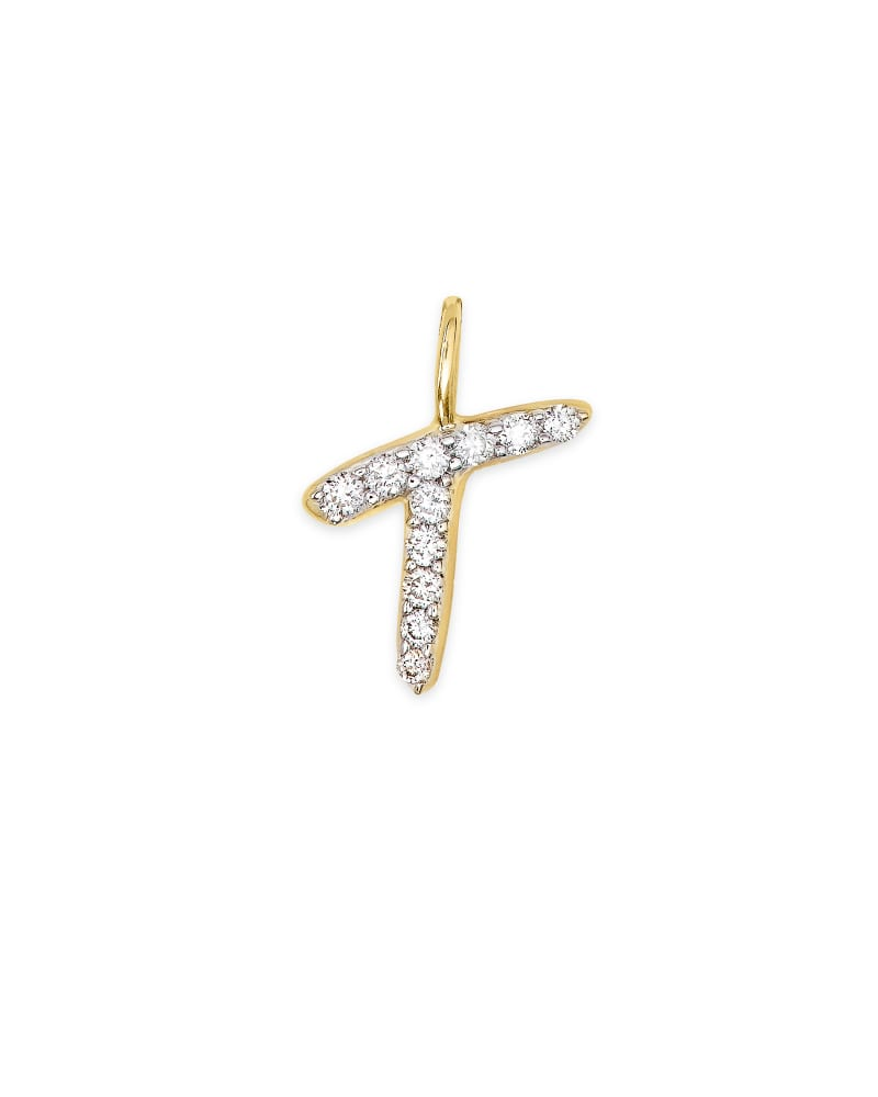 14k Yellow Gold Letter T Charm in White Diamond