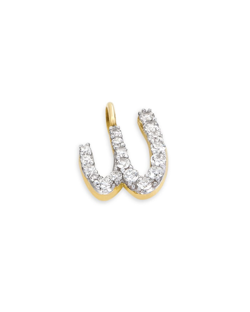 14k Yellow Gold Letter W Charm in White Diamond