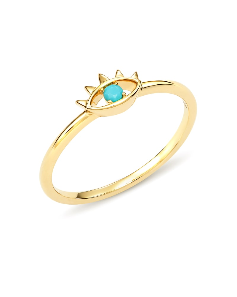 Adena 14k Yellow Gold Band Ring in Turquoise