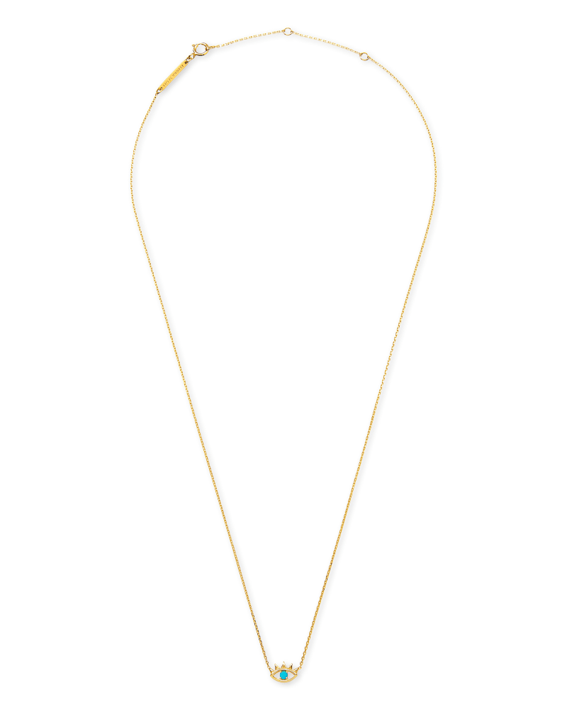 Adena 14k Yellow Gold Pendant Necklace in Turquoise