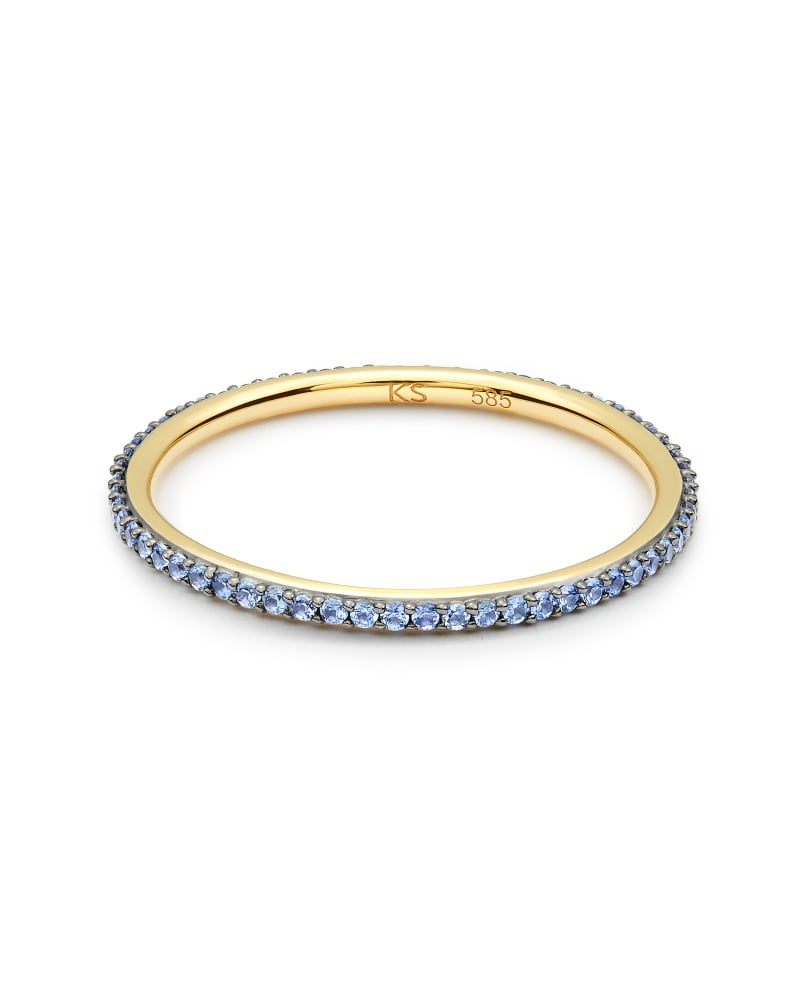 Angelina 14k Yellow Gold Band Ring in Blue Sapphire