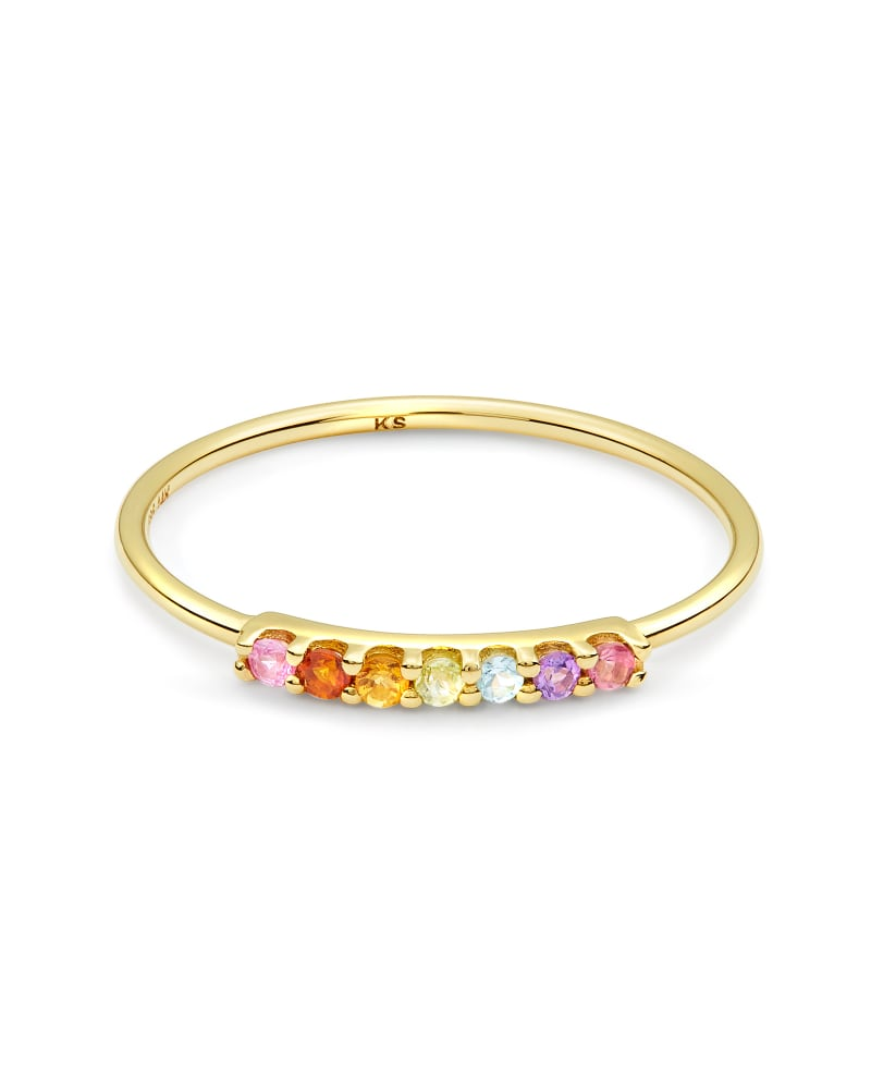 Cammie 14k Yellow Gold Band Ring in Multicolor