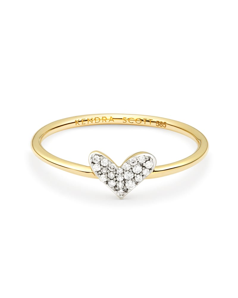 Heart 14k Band Ring in White Diamond