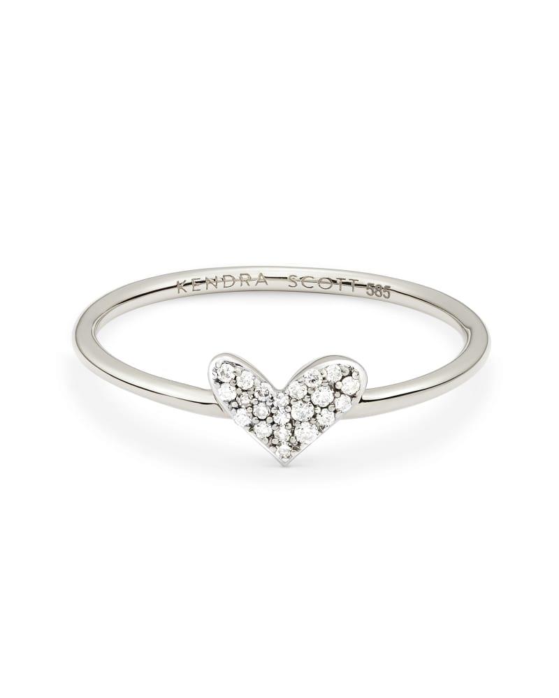 Heart 14k White Gold Band Ring in White Diamond